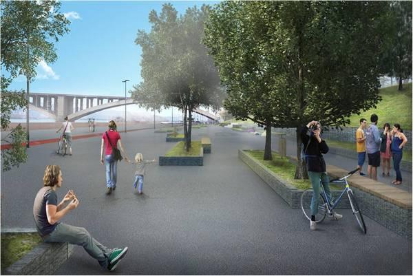 Представлен проект благоустройства набережной сосмотровой площадкой ипарком (эскизы)