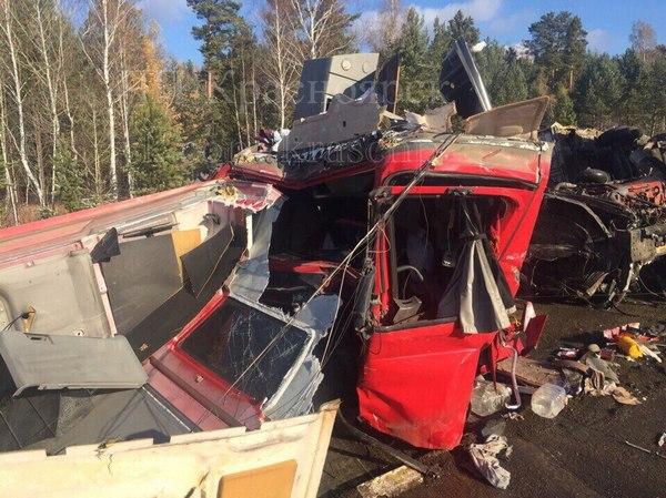 ВКрасноярском крае натрассе столкнулись две фуры: умер шофёр